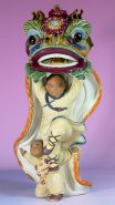 Ancient Chinese Traditional Lion / Dragon Dance Porcelain Figuri