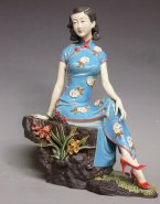 Limited Masterpiece Oriental Chinese Porcelain Dolls Ceramic Figurine Orchid 13""