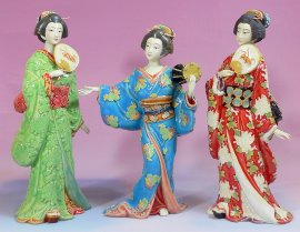 Japanese Kimono Geisha Lady Porcelain Figurine Ceramic Sculpture