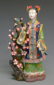 The Plum Flower Lady - Delicate Shiwan Chinese Porcelain / Ceramic Figurine