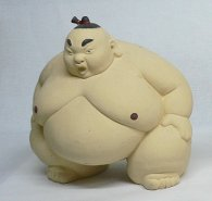 Japanese Sumo Doll Pottery Ceramic Figurine Statue