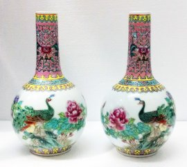 PAIR Vintage Unique Porcelain Famille Rose Vase With Peacock On Flowering Tree