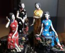 Oriental Chinese Women Masterpiece Ceramic Porcelain Doll Figurine LARGE 4/SET