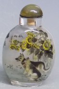 18 Years Old (2002) Master chinese Inside Painted Snuff Bottle Dogs