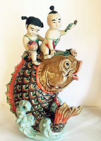 Porcelain Ceramic Statue Prosperity Carps Koi Feng Shui Fish Lucky Kids