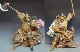 "20"" Limited PAIR Masterpiece Chinese Feng Shui Door God Ceramic Figurine Statue"